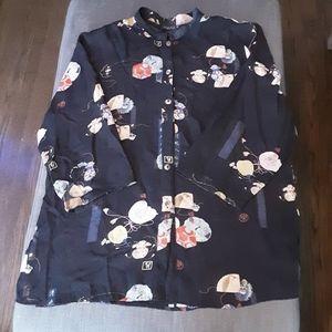 Citron Santa Monica kimono blouse 100% silk 1X